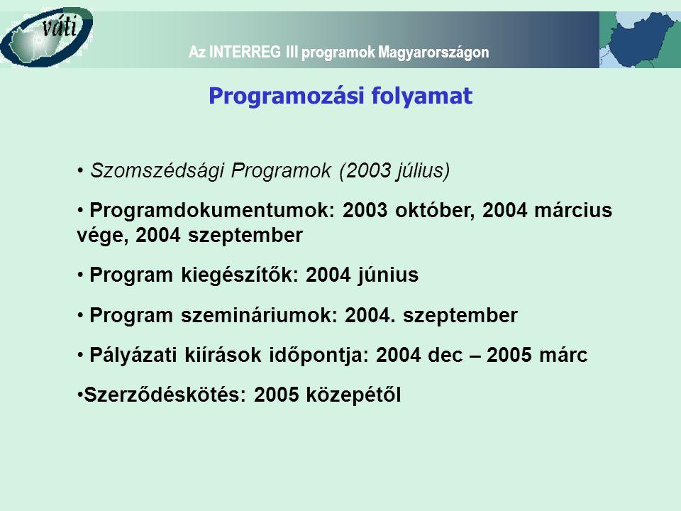Az INTERREG III programok Magyarországon Belső (bilaterális) program: Ausztria-Magyarország Interreg IIIA Közösségi Kezdeményezési Program Új belső-külső trilaterális Szomszédsági Programok: Magyarország-Szlovákia-Ukrajna Szomszédsági Program (INTERREG-TACIS) Szlovénia-Magyarország-Horvátország Szomszédsági Program (INTERREG-CARDS) Új külső trilaterális program: Magyarország-Románia és Magyarország - Szerbia Montenegró Határ menti Együttműködési Program (INTERREG-PHARE-CARDS)