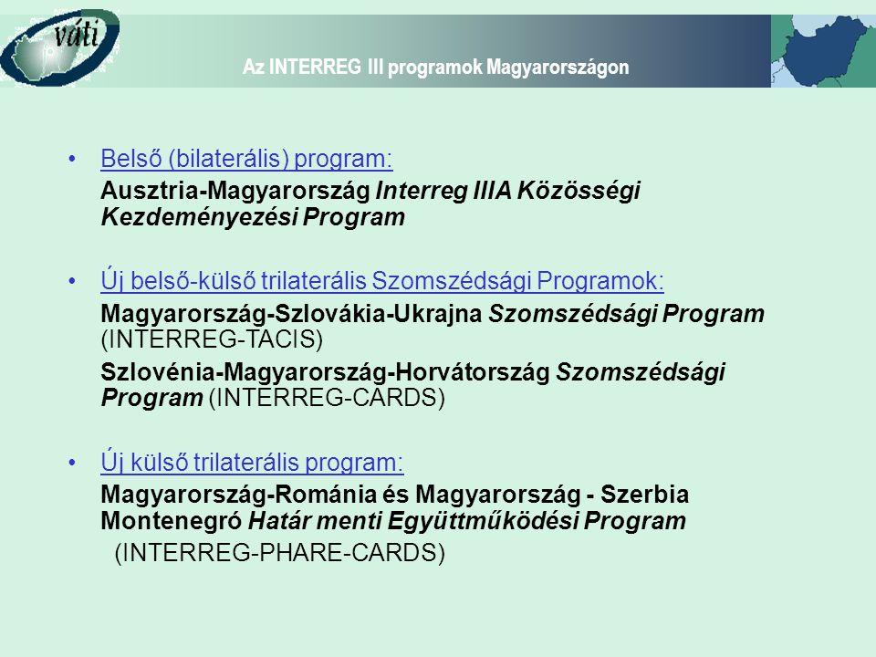 """Az INTERREG III programok Magyarországon INTERREG IIIA - Alapelvek egy határ-egy program-egy számla-egy titkárság elve valódi határon átnyúló programozás és megvalósítás """"alulról felfelé építkezés elve: projektek kezdeményezése a határrégióból közös intézményi keret kialakítása (nemzetek feletti programintézmények)"""