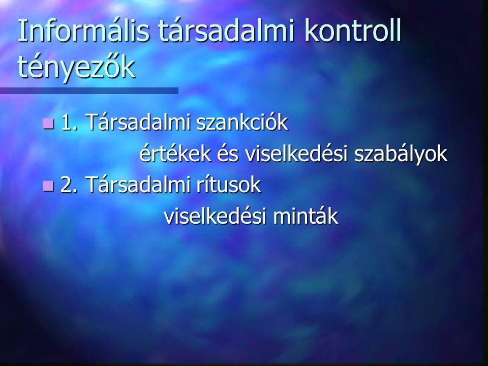 Informális társadalmi kontroll tényezők 1. Társadalmi szankciók 1. Társadalmi szankciók értékek és viselkedési szabályok értékek és viselkedési szabál