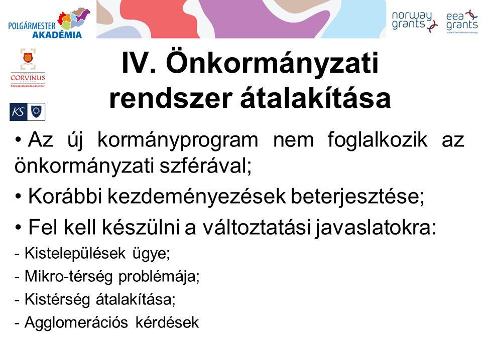 IV. Önkormányzati rendszer átalakítása Az új kormányprogram nem foglalkozik az önkormányzati szférával; Korábbi kezdeményezések beterjesztése; Fel kel
