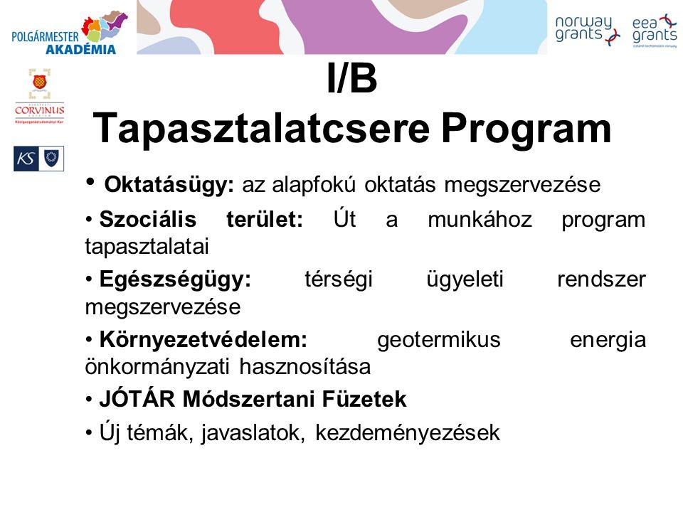 I/B Tapasztalatcsere Program Oktatásügy: az alapfokú oktatás megszervezése Szociális terület: Út a munkához program tapasztalatai Egészségügy: térségi