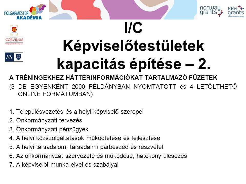 I/C Képviselőtestületek kapacitás építése – 3.