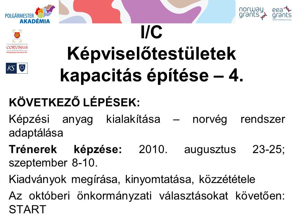 I/C Képviselőtestületek kapacitás építése – 4. KÖVETKEZŐ LÉPÉSEK: Képzési anyag kialakítása – norvég rendszer adaptálása Trénerek képzése: 2010. augus