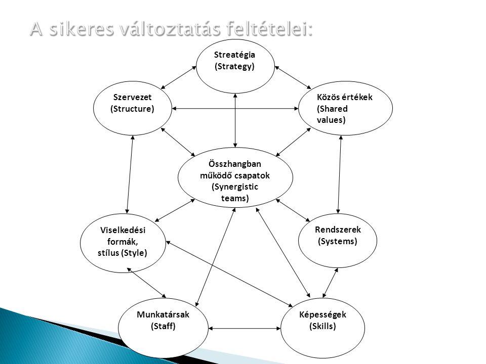 Összhangban működő csapatok (Synergistic teams) Munkatársak (Staff) Képességek (Skills) Rendszerek (Systems) Viselkedési formák, stílus (Style) Szerve