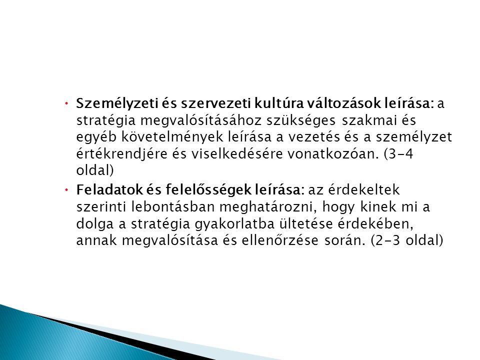  Személyzeti és szervezeti kultúra változások leírása: a stratégia megvalósításához szükséges szakmai és egyéb követelmények leírása a vezetés és a s