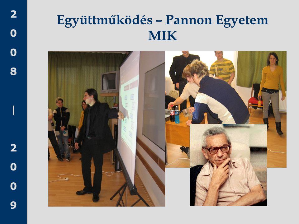 2008 20092008 2009 Együttműködés – Pannon Egyetem MIK