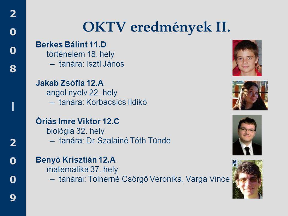 2008 20092008 2009 OKTV eredmények II. Berkes Bálint 11.D történelem 18. hely –tanára: Isztl János Jakab Zsófia 12.A angol nyelv 22. hely –tanára: Kor