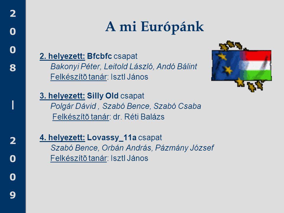 2008 20092008 2009 A mi Európánk 2. helyezett: Bfcbfc csapat Bakonyi Péter, Leitold László, Andó Bálint Felkészítõ tanár: Isztl János 3. helyezett: Si