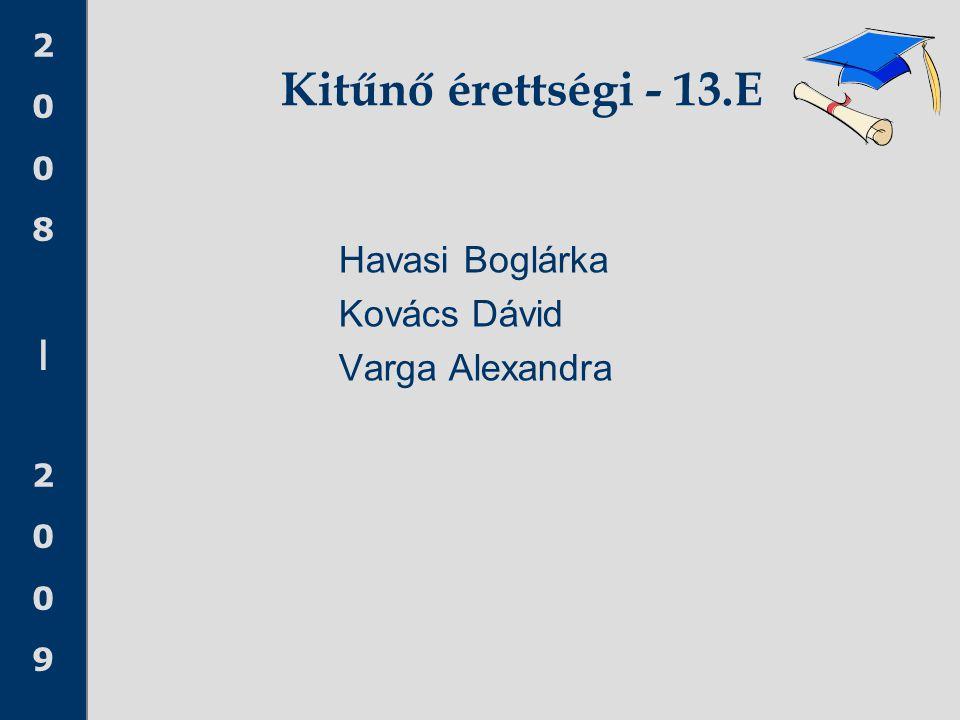 2008 20092008 2009 Kitűnő érettségi - 13.E Havasi Boglárka Kovács Dávid Varga Alexandra
