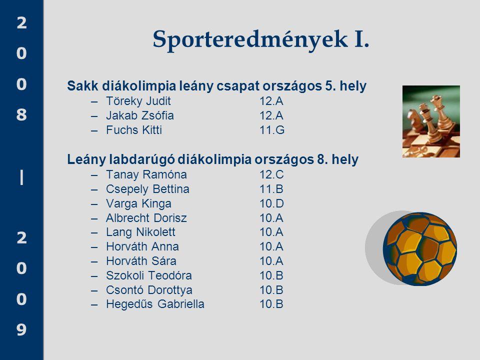 2008 20092008 2009 Sporteredmények I. Sakk diákolimpia leány csapat országos 5. hely –Töreky Judit 12.A –Jakab Zsófia 12.A –Fuchs Kitti11.G Leány labd