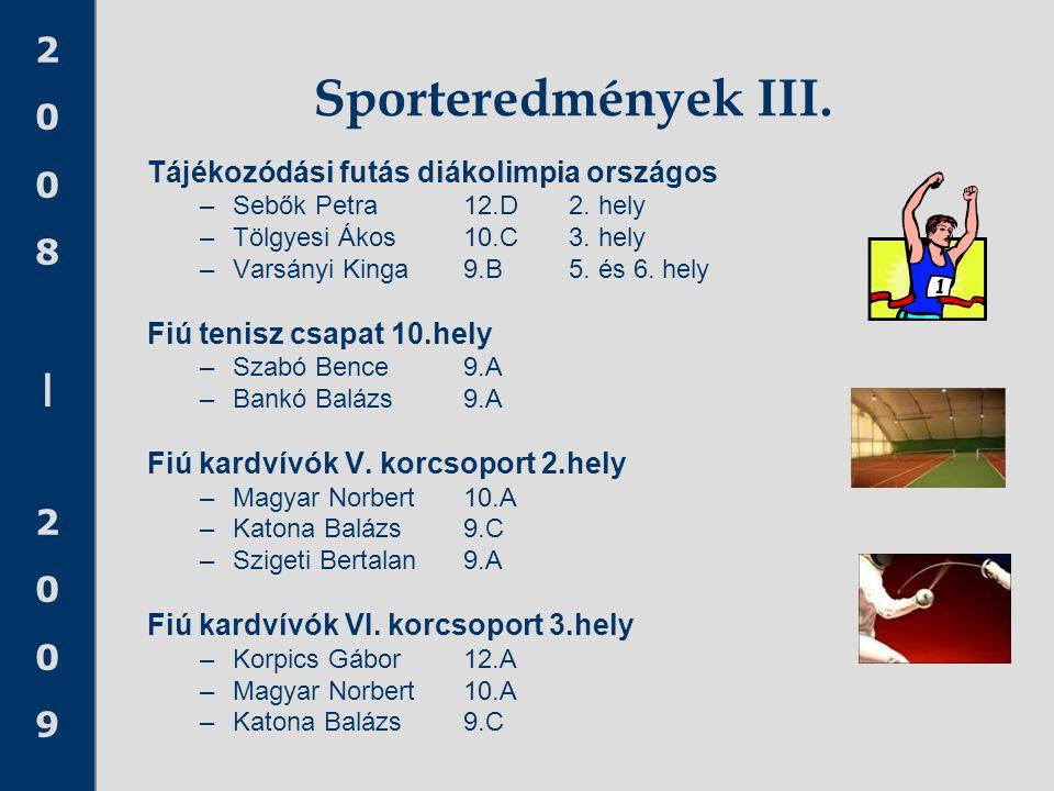 2008 20092008 2009 Sporteredmények III. Tájékozódási futás diákolimpia országos –Sebők Petra 12.D 2. hely –Tölgyesi Ákos 10.C 3. hely –Varsányi Kinga9