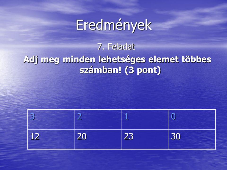 Eredmények 7. Feladat Adj meg minden lehetséges elemet többes számban.