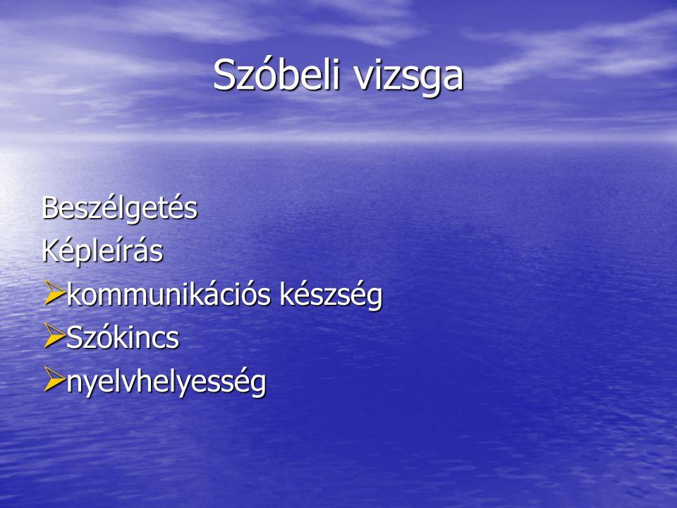 Szóbeli vizsga BeszélgetésKépleírás  kommunikációs készség  Szókincs  nyelvhelyesség
