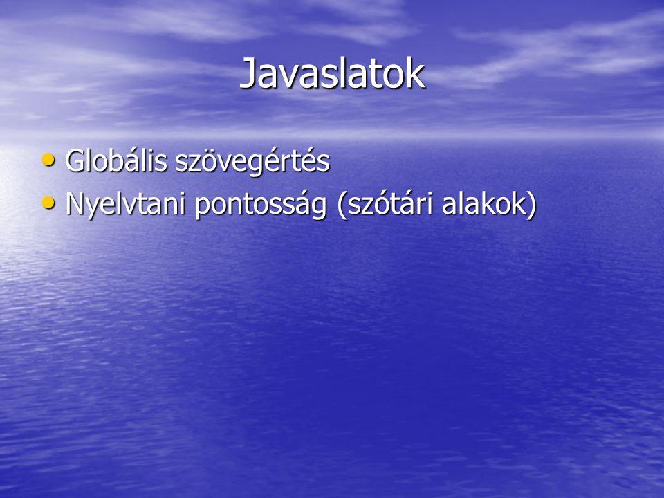 Javaslatok Globális szövegértés Globális szövegértés Nyelvtani pontosság (szótári alakok) Nyelvtani pontosság (szótári alakok)