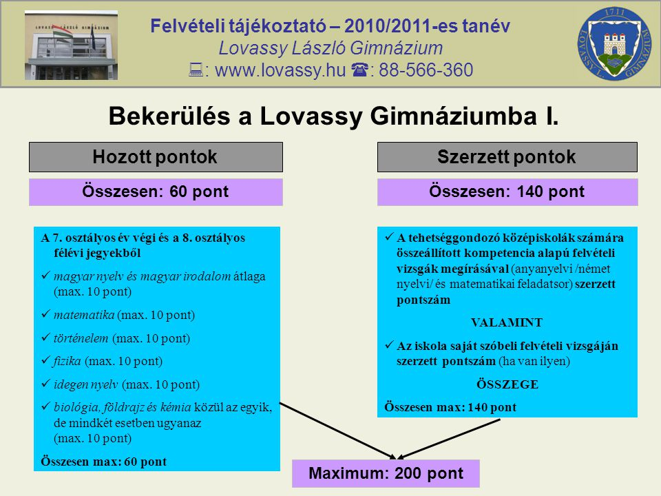 Felvételi tájékoztató – 2010/2011-es tanév Lovassy László Gimnázium  : www.lovassy.hu  : 88-566-360 Bekerülés a Lovassy Gimnáziumba I. Hozott pontok
