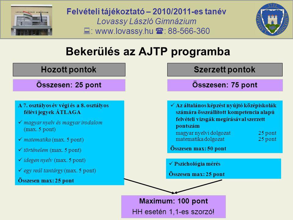 Felvételi tájékoztató – 2010/2011-es tanév Lovassy László Gimnázium  : www.lovassy.hu  : 88-566-360 Bekerülés az AJTP programba Hozott pontokSzerzett pontok Összesen: 25 pontÖsszesen: 75 pont A 7.