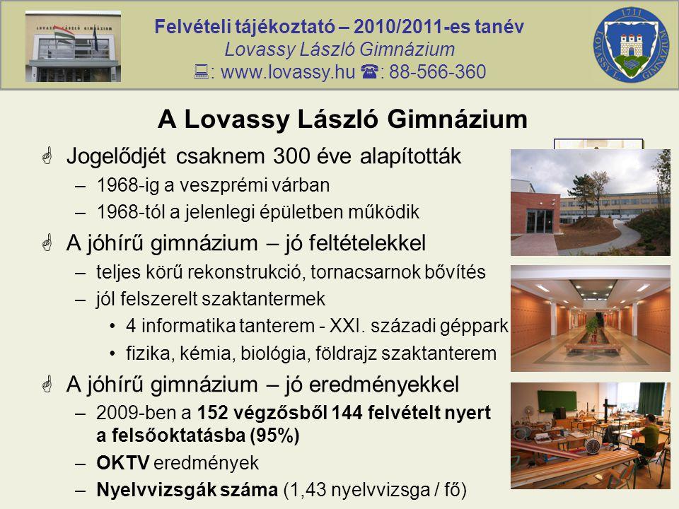 Felvételi tájékoztató – 2010/2011-es tanév Lovassy László Gimnázium  : www.lovassy.hu  : 88-566-360 A Lovassy László Gimnázium  Jogelődjét csaknem