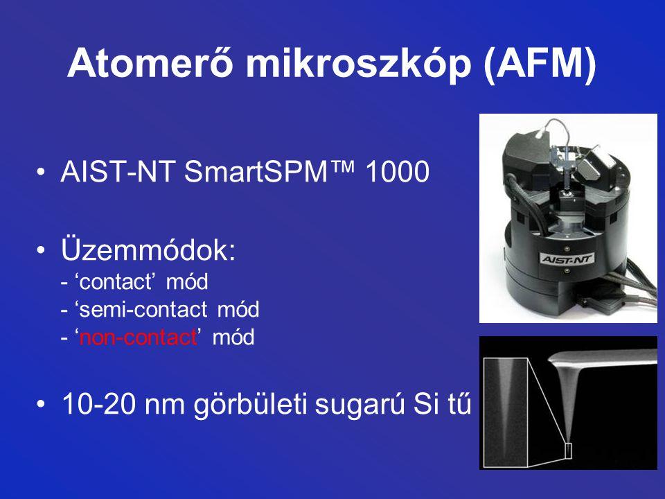 Atomerő mikroszkóp (AFM) AIST-NT SmartSPM™ 1000 Üzemmódok: - 'contact' mód - 'semi-contact mód - 'non-contact' mód 10-20 nm görbületi sugarú Si tű