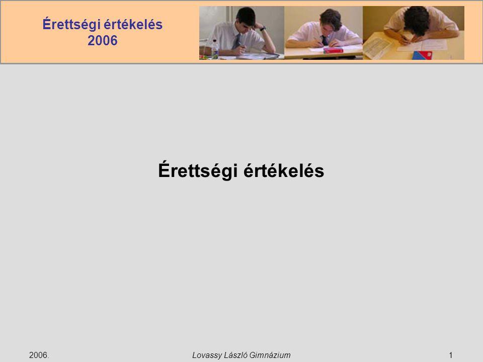 Érettségi értékelés 2006 2006.Lovassy László Gimnázium1 Érettségi értékelés