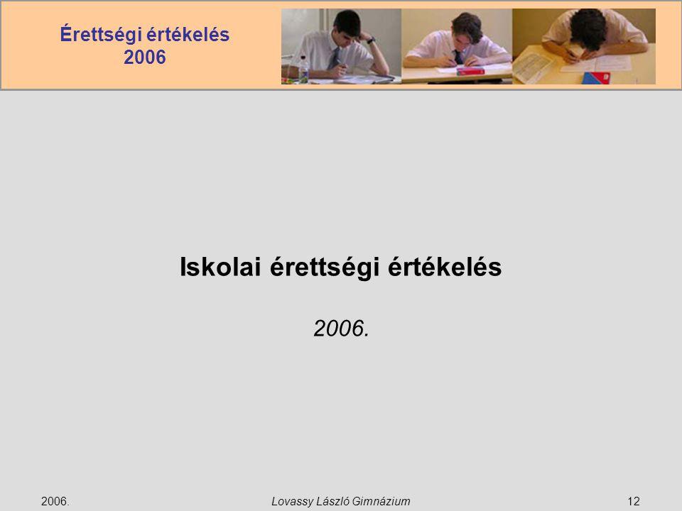 Érettségi értékelés 2006 2006.Lovassy László Gimnázium12 Iskolai érettségi értékelés 2006.