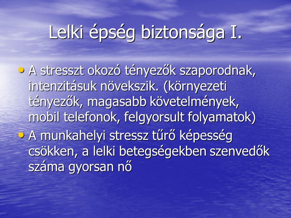 Lelki épség biztonsága I. A stresszt okozó tényezők szaporodnak, intenzitásuk növekszik. (környezeti tényezők, magasabb követelmények, mobil telefonok