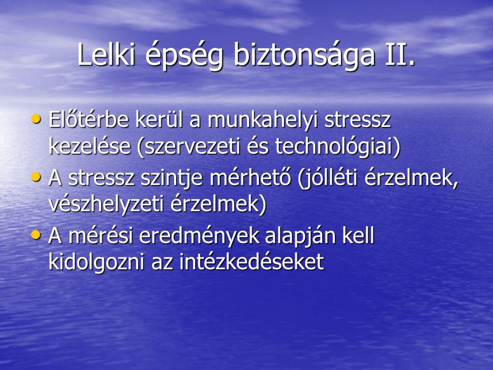 Lelki épség biztonsága II. Előtérbe kerül a munkahelyi stressz kezelése (szervezeti és technológiai) Előtérbe kerül a munkahelyi stressz kezelése (sze