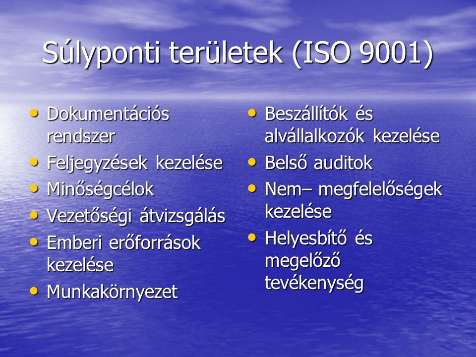 Súlyponti területek (ISO 9001) Dokumentációs rendszer Dokumentációs rendszer Feljegyzések kezelése Feljegyzések kezelése Minőségcélok Minőségcélok Vez