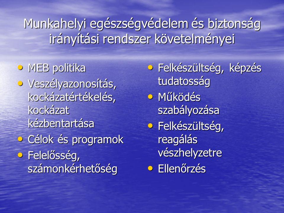 Munkahelyi egészségvédelem és biztonság irányítási rendszer követelményei MEB politika MEB politika Veszélyazonosítás, kockázatértékelés, kockázat kéz