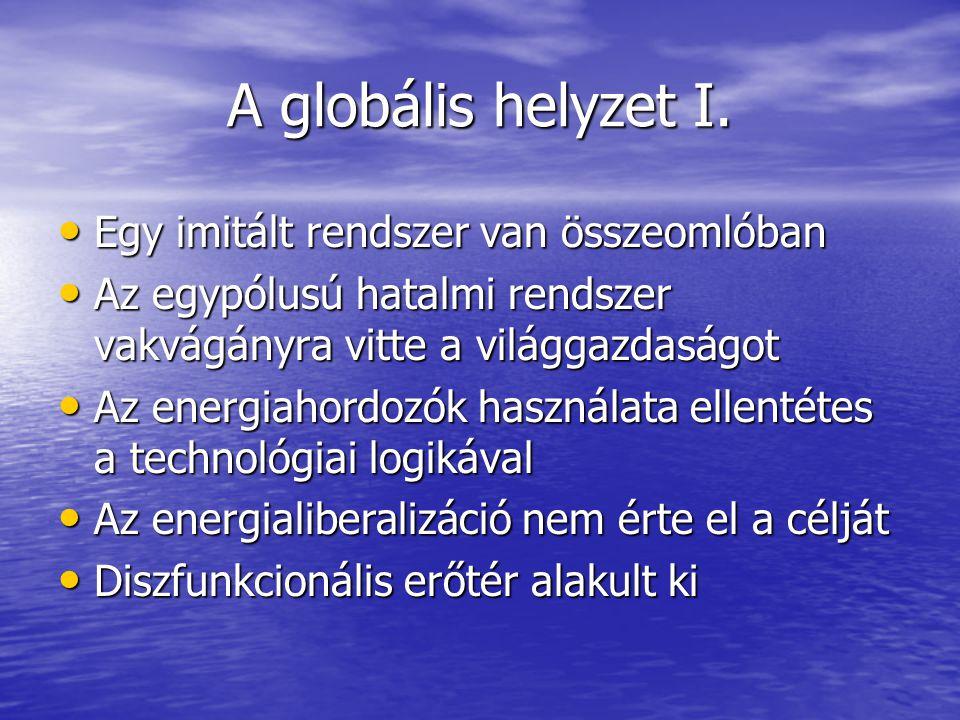 A globális helyzet I. Egy imitált rendszer van összeomlóban Egy imitált rendszer van összeomlóban Az egypólusú hatalmi rendszer vakvágányra vitte a vi