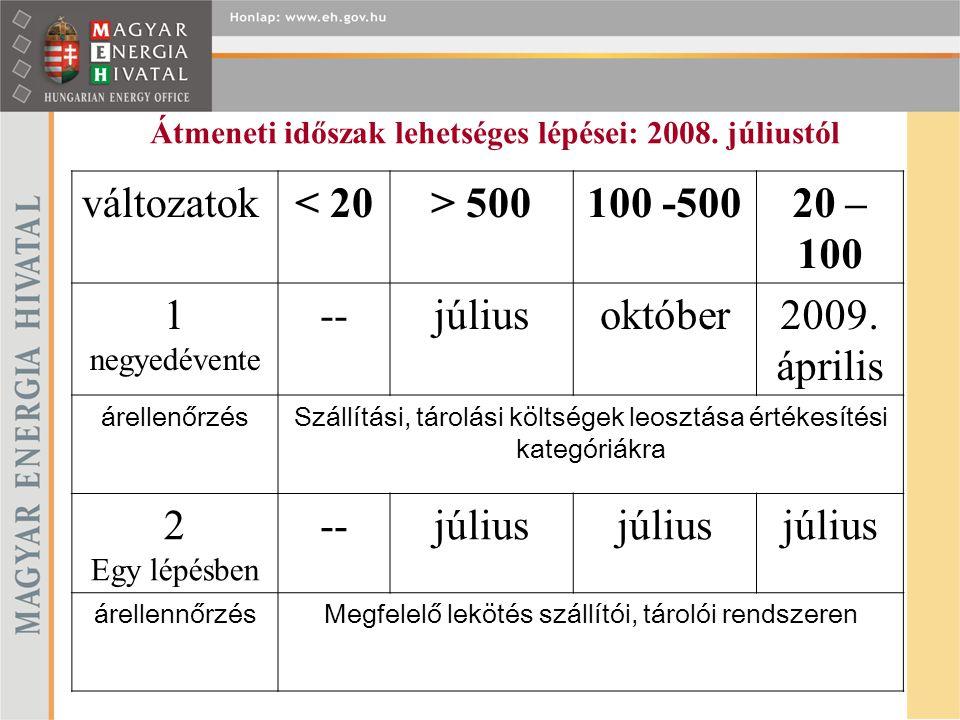 Átmeneti időszak lehetséges lépései: 2008.
