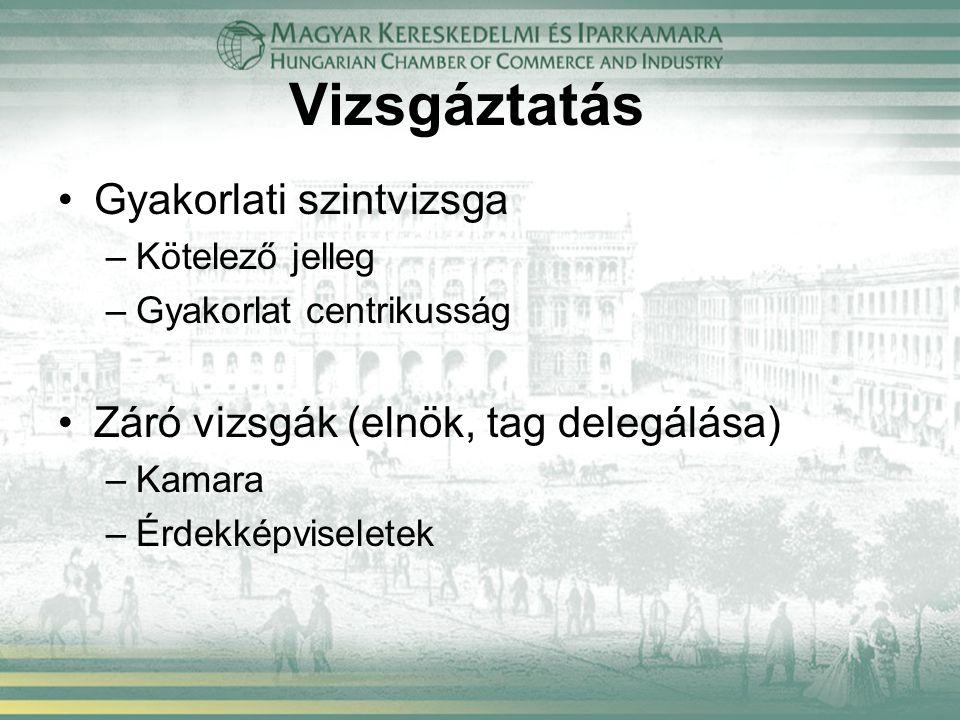 Vizsgáztatás Gyakorlati szintvizsga –Kötelező jelleg –Gyakorlat centrikusság Záró vizsgák (elnök, tag delegálása) –Kamara –Érdekképviseletek
