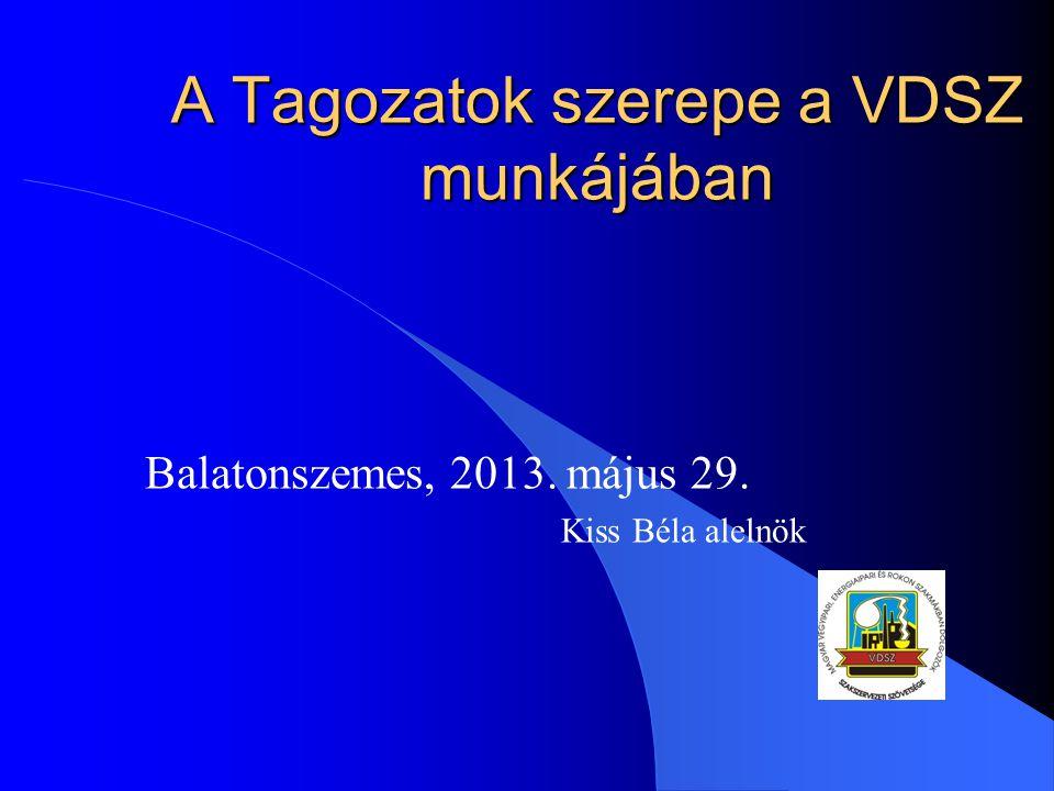 A Tagozatok szerepe a VDSZ munkájában Balatonszemes, 2013. május 29. Kiss Béla alelnök