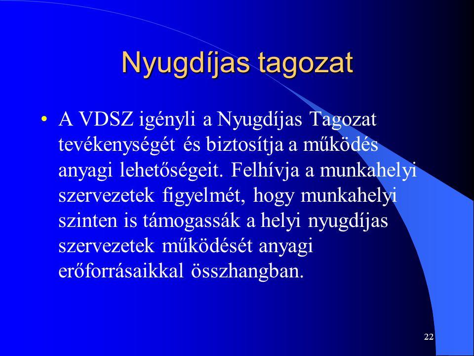 Nyugdíjas tagozat A VDSZ igényli a Nyugdíjas Tagozat tevékenységét és biztosítja a működés anyagi lehetőségeit.