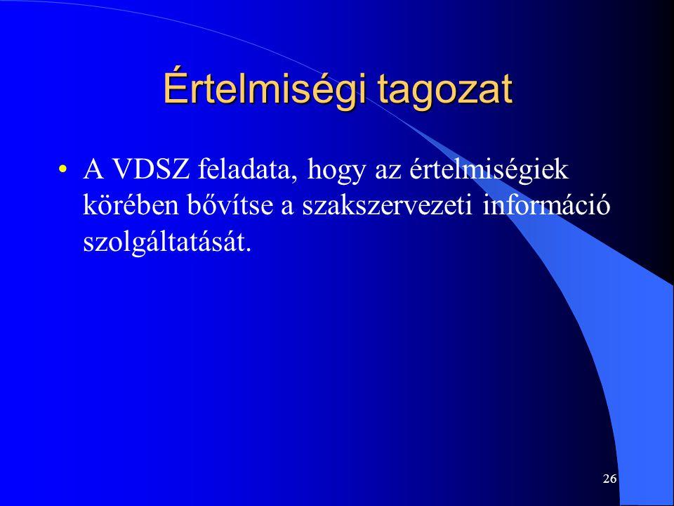 Értelmiségi tagozat A VDSZ feladata, hogy az értelmiségiek körében bővítse a szakszervezeti információ szolgáltatását.