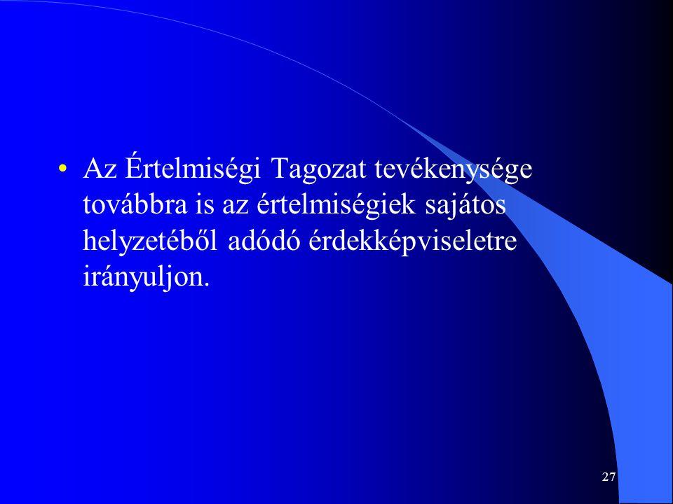 Az Értelmiségi Tagozat tevékenysége továbbra is az értelmiségiek sajátos helyzetéből adódó érdekképviseletre irányuljon.