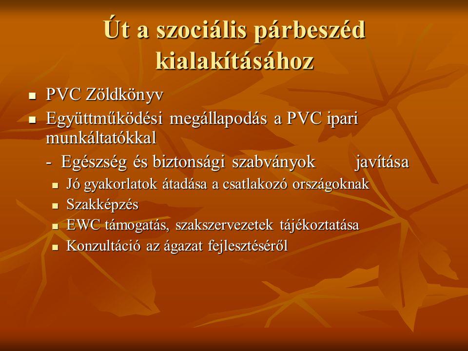 Út a szociális párbeszéd kialakításához PVC Zöldkönyv PVC Zöldkönyv Együttműködési megállapodás a PVC ipari munkáltatókkal Együttműködési megállapodás a PVC ipari munkáltatókkal - Egészség és biztonsági szabványok javítása Jó gyakorlatok átadása a csatlakozó országoknak Jó gyakorlatok átadása a csatlakozó országoknak Szakképzés Szakképzés EWC támogatás, szakszervezetek tájékoztatása EWC támogatás, szakszervezetek tájékoztatása Konzultáció az ágazat fejlesztéséről Konzultáció az ágazat fejlesztéséről