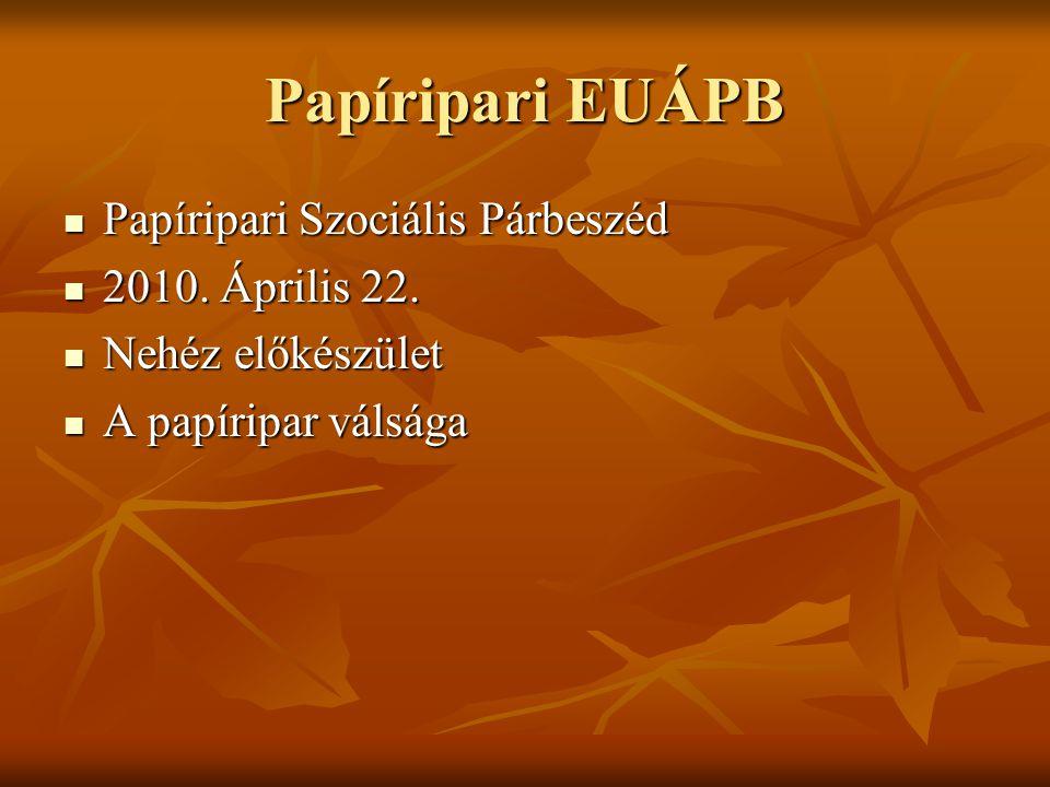 Papíripari EUÁPB Papíripari Szociális Párbeszéd Papíripari Szociális Párbeszéd 2010.