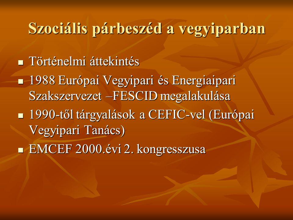 Szociális párbeszéd a vegyiparban Történelmi áttekintés Történelmi áttekintés 1988 Európai Vegyipari és Energiaipari Szakszervezet –FESCID megalakulása 1988 Európai Vegyipari és Energiaipari Szakszervezet –FESCID megalakulása 1990-től tárgyalások a CEFIC-vel (Európai Vegyipari Tanács) 1990-től tárgyalások a CEFIC-vel (Európai Vegyipari Tanács) EMCEF 2000.évi 2.