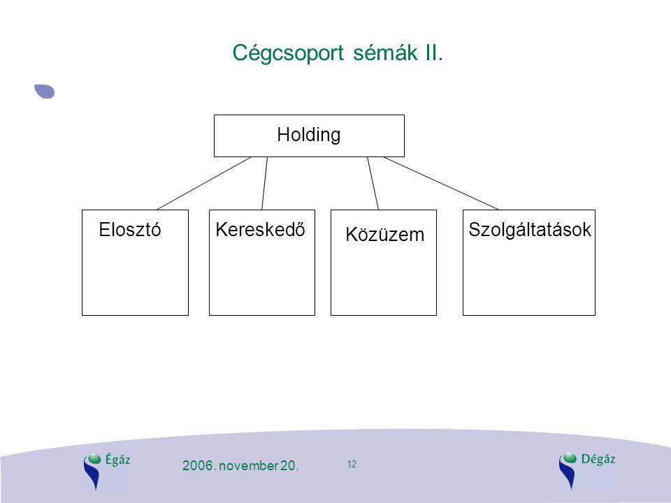 12 2006. november 20. Cégcsoport sémák II. Holding ElosztóKereskedő Közüzem Szolgáltatások