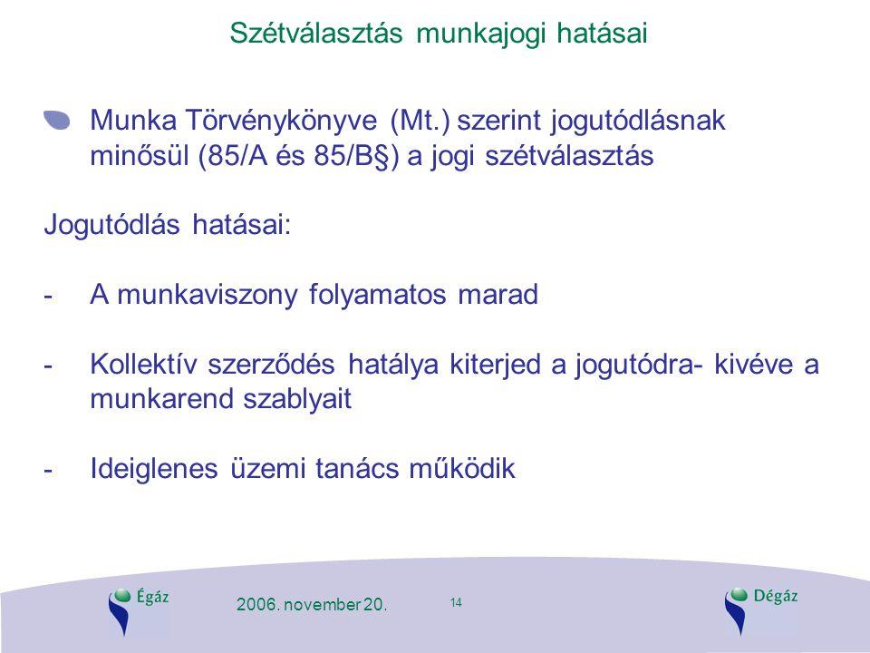14 2006. november 20. Szétválasztás munkajogi hatásai Munka Törvénykönyve (Mt.) szerint jogutódlásnak minősül (85/A és 85/B§) a jogi szétválasztás Jog