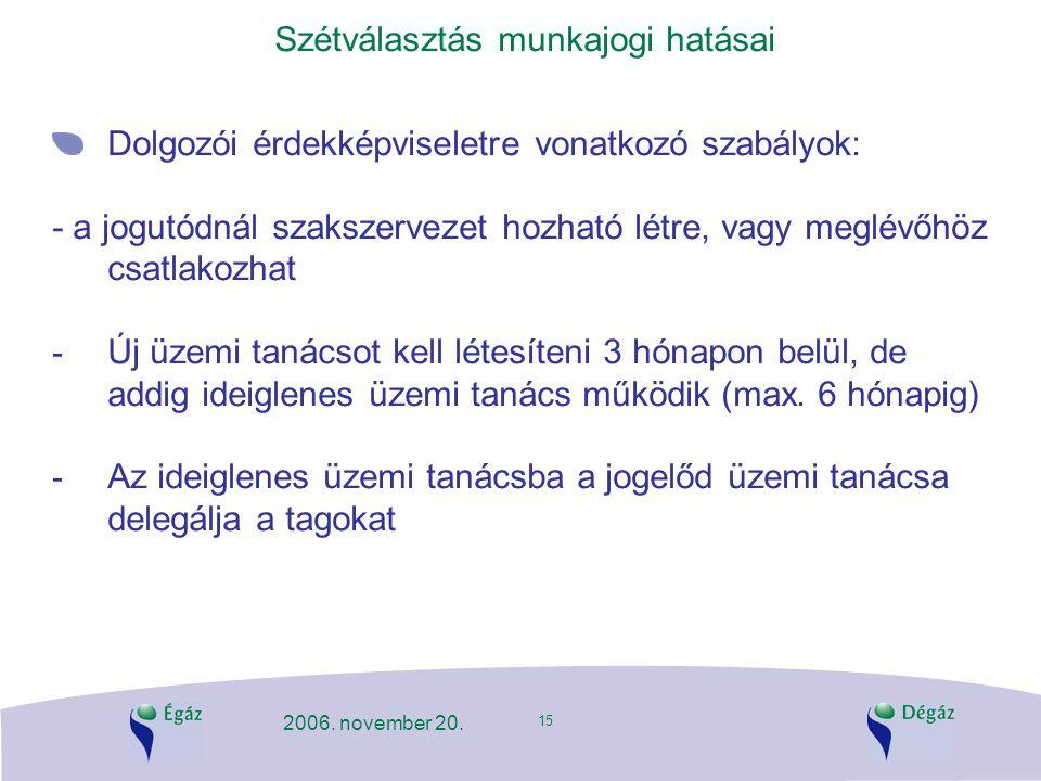 15 2006. november 20. Szétválasztás munkajogi hatásai Dolgozói érdekképviseletre vonatkozó szabályok: - a jogutódnál szakszervezet hozható létre, vagy