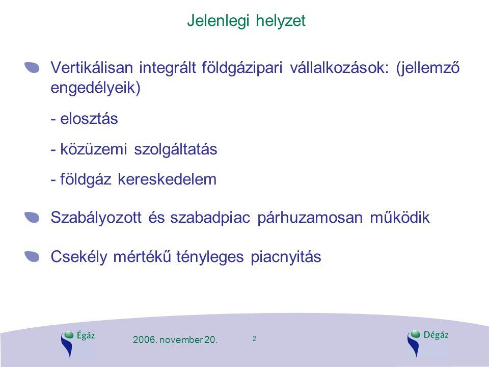 2 2006. november 20. Jelenlegi helyzet Vertikálisan integrált földgázipari vállalkozások: (jellemző engedélyeik) - elosztás - közüzemi szolgáltatás -