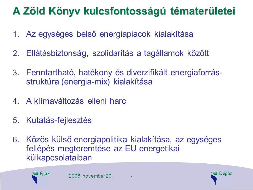 5 2006. november 20. A Zöld Könyv kulcsfontosságú tématerületei 1. Az egységes belső energiapiacok kialakítása 2. Ellátásbiztonság, szolidaritás a tag