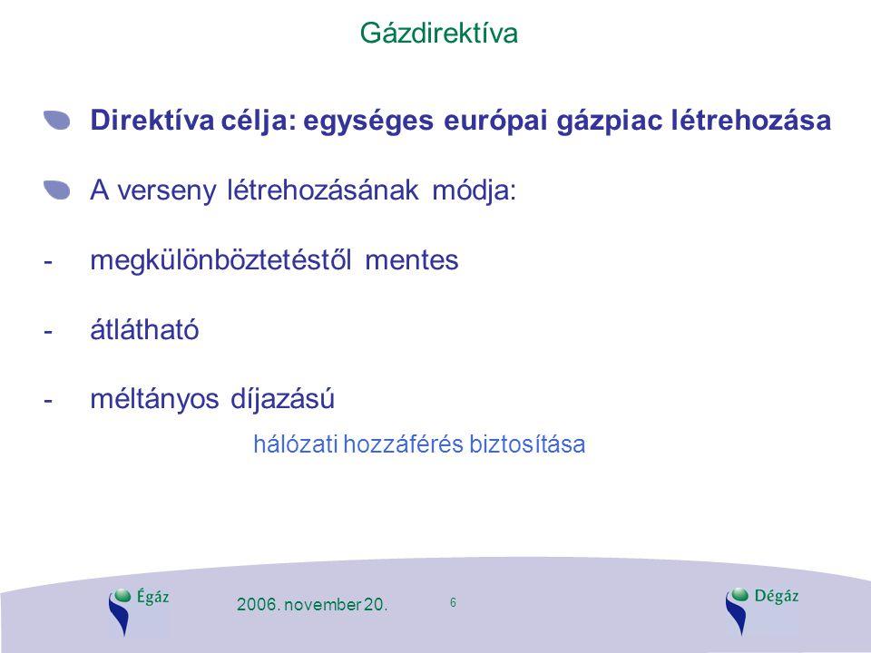 6 2006. november 20. Gázdirektíva Direktíva célja: egységes európai gázpiac létrehozása A verseny létrehozásának módja: - megkülönböztetéstől mentes -