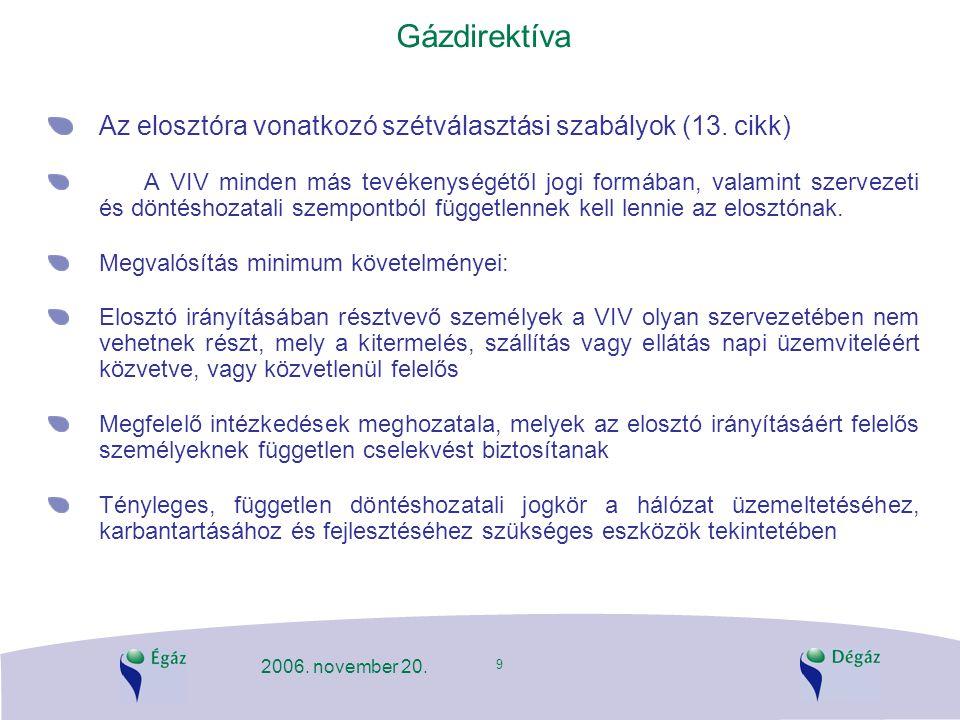 9 2006. november 20. Gázdirektíva Az elosztóra vonatkozó szétválasztási szabályok (13. cikk) A VIV minden más tevékenységétől jogi formában, valamint