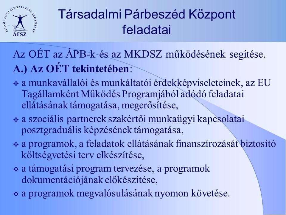Társadalmi Párbeszéd Központ feladatai Az OÉT az ÁPB-k és az MKDSZ működésének segítése. A.) Az OÉT tekintetében:  a munkavállalói és munkáltatói érd