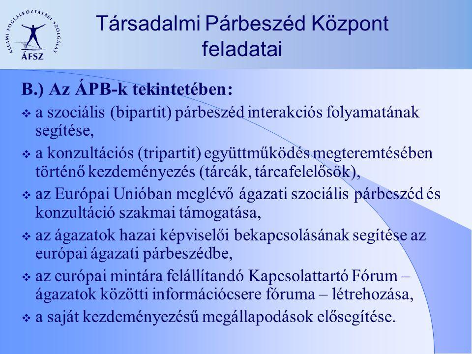 Társadalmi Párbeszéd Központ feladatai B.) Az ÁPB-k tekintetében:  a szociális (bipartit) párbeszéd interakciós folyamatának segítése,  a konzultáci