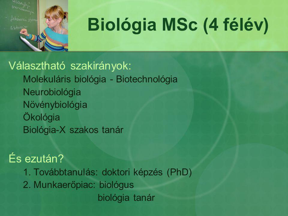 Biológia MSc (4 félév) Választható szakirányok: Molekuláris biológia - Biotechnológia Neurobiológia Növénybiológia Ökológia Biológia-X szakos tanár És
