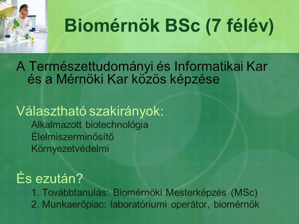 Biomérnök BSc (7 félév) A Természettudományi és Informatikai Kar és a Mérnöki Kar közös képzése Választható szakirányok: Alkalmazott biotechnológia Él