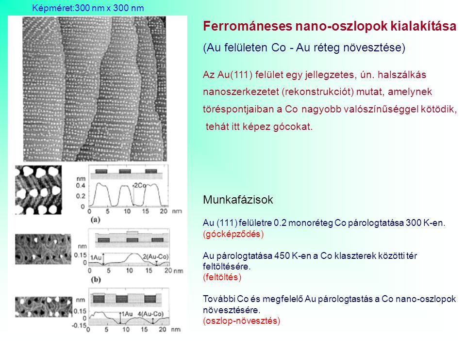 Ferrománeses nano-oszlopok kialakítása (Au felületen Co - Au réteg növesztése) Az Au(111) felület egy jellegzetes, ún. halszálkás nanoszerkezetet (rek